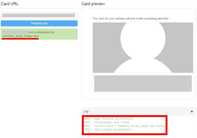 TWITTERカードが設定できているのか確認する画面