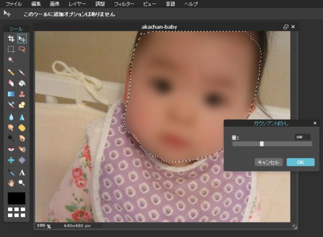「Pixlr Online Photo Ediotr」ガウシアンぼかし、設定量を100に変更
