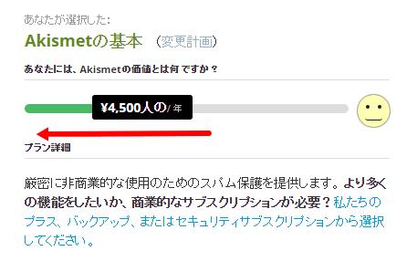 Wordpressプラグイン「Akismet」設定、値段を無料にする