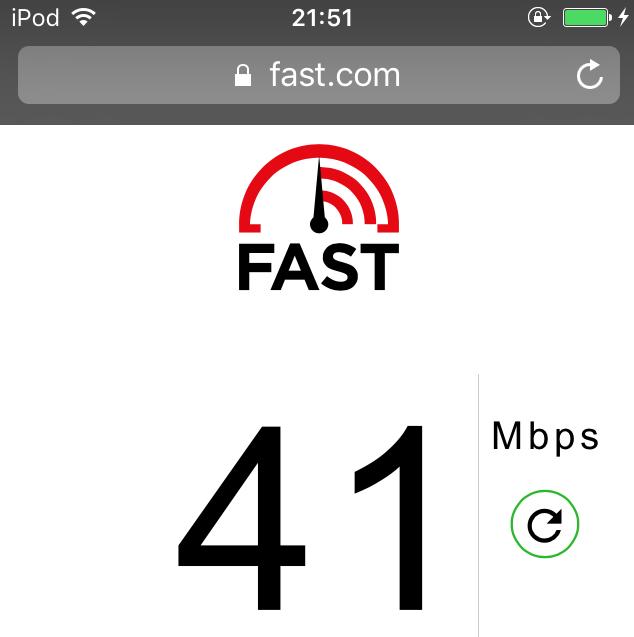 UQモバイルの22時だいの通信速度を計測した結果、41Mbps
