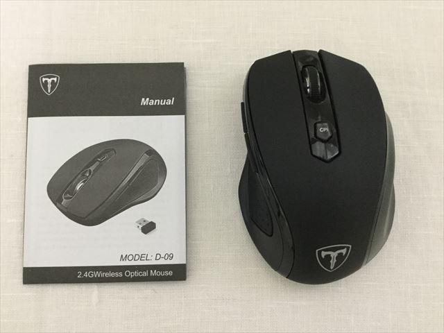 Qtuo2.4Gワイヤレスマウス、本体と説明書