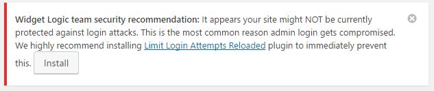 Wordpressに来た「Widget Logicチームのセキュリティの推奨事項」