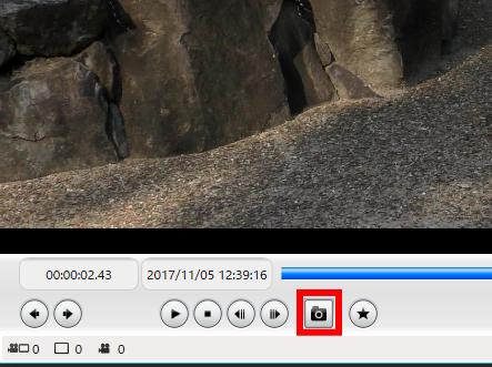 「HD Writer AE 5.4」1ファイルごとの編集画面、静止画切り出しボタン
