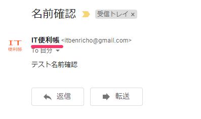 Gmailでメールを送信して、表示名を確認した様子