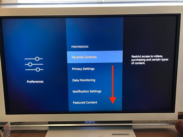 Amazon「Fire TV Stick」設定のPreferencesの画面