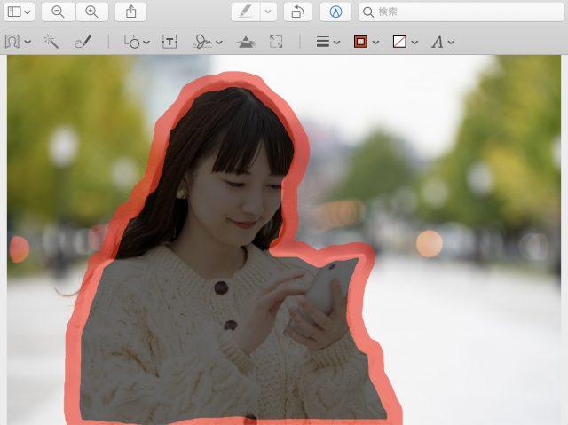 Macプレビュー「スマート投げなわ」でイメージの周囲をなぞり終わった様子