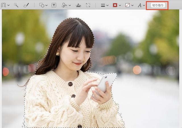 Macプレビュー「スマート投げなわ」でイメージの周囲をなぞり終わると、周囲が点線に変わる
