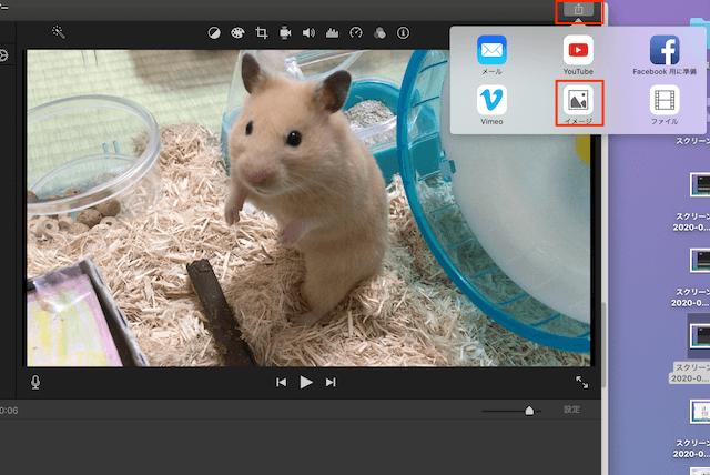 iMovieの出力ボタンとイメージボタン