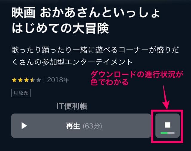 「U-NEXT」の動画をダウンロードする手順「ダウンロード中の様子」