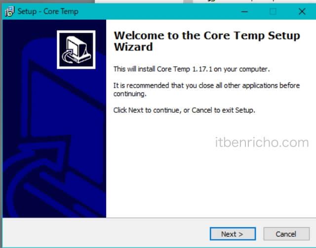 「Core Temp」セットアップ画面