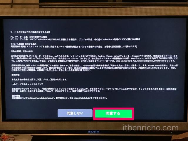 Amazon「Fire TV Stick」Huluアプリ・利用規約の内容・同意ボタン